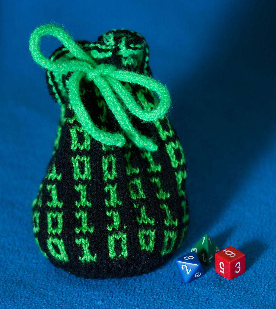 rune purse storage pouch small drawstring bag D/&D RPG coin pouch Hand knitted dice bag