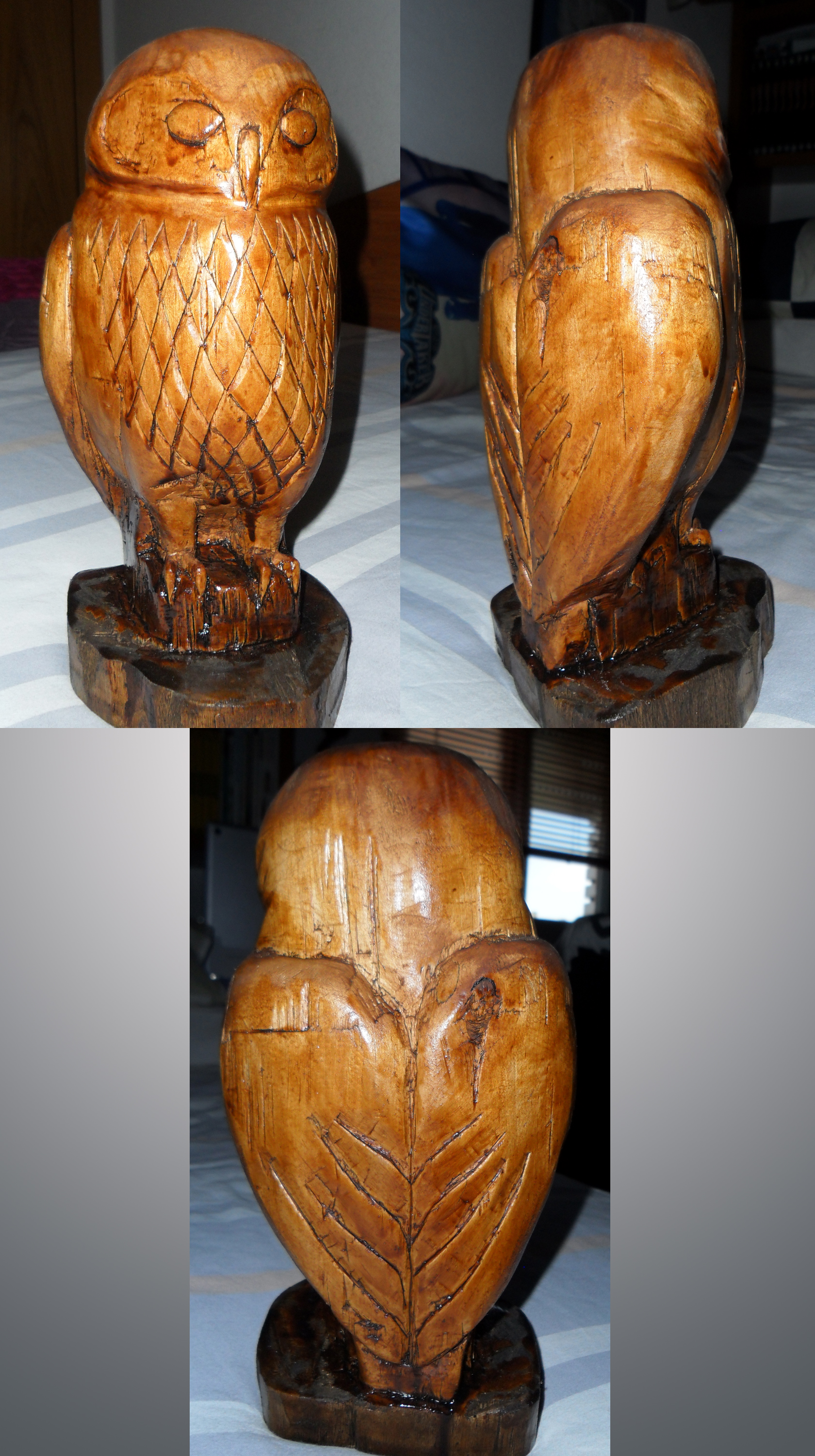 Little Owl wooden carving by Innerwolf88