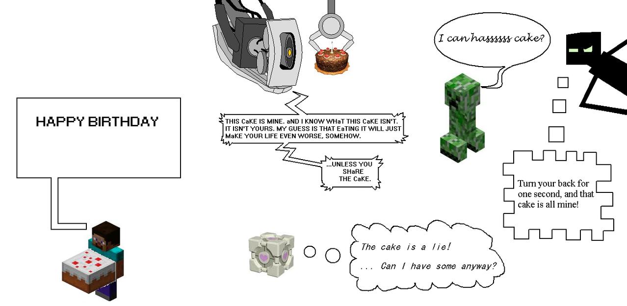 portal/minecraft trifold birthday card by neoretrok on deviantart, Birthday card