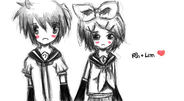 Rin + Len by violetXribbon