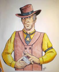 Watercolor Cowboy by adamwparsons