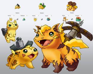 Pikasaur, Raivysaur, and Venachu. by adamwparsons