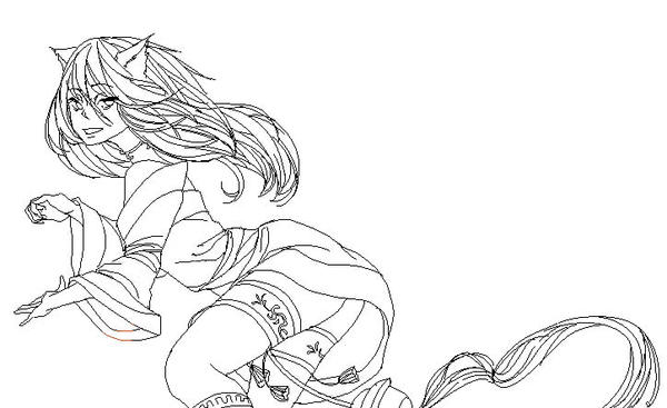 Ahri Lineart by otaku160