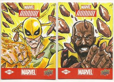 Upper Deck Power Man and Iron Fist Sketch Cards by aldoggartist2004