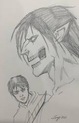 Attack on Titan Eren Jaeger Sketch by aldoggartist2004