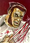 Logan Wolverine Sketch Card Color by aldoggartist2004