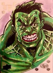 Incredible Hulk Upper Deck Sketch card by aldoggartist2004