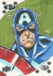 Captain America Sketch Card by aldoggartist2004