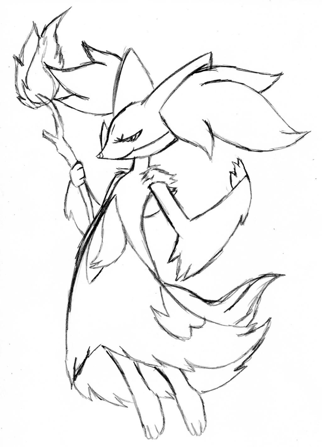 Delphox Coloring Pages Coloring