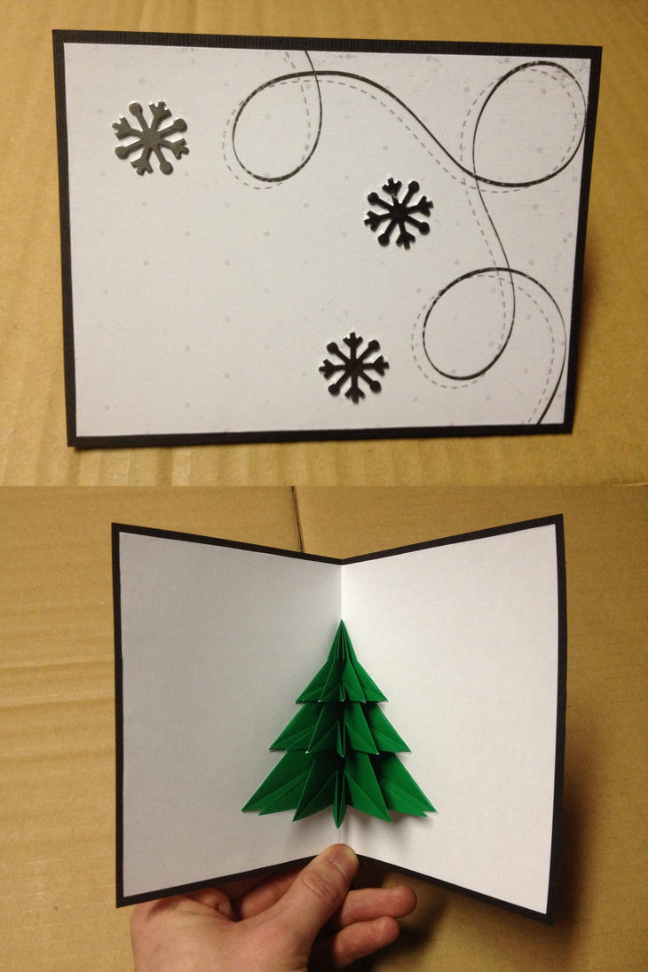 Origami christmas card by loduris on deviantart for How to make folded christmas cards