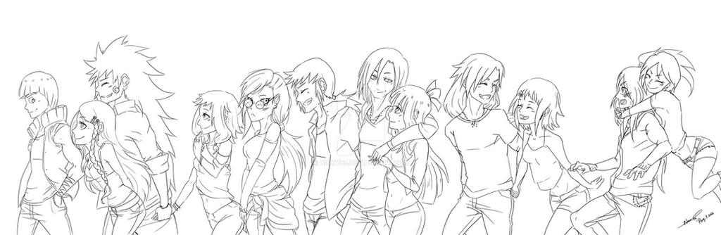 Line Art Group : Ll see our favorite rock band by nikky on deviantart