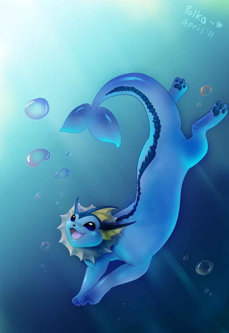 Vaporeon underwater by littlepolka on DeviantArt