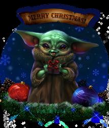 Baby Yoda Christmas art