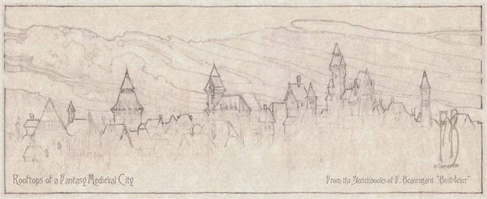 Rooftops of Fantasy Medieval City