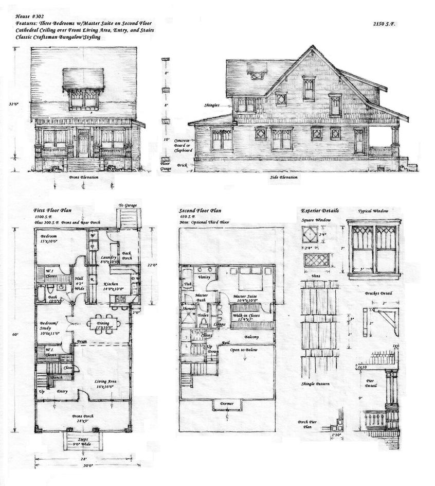 House 302 craftsman bungalow by built4ever on deviantart for Bungalow plans and elevations