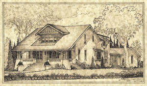 House 321 Shaded Perspective Sketch