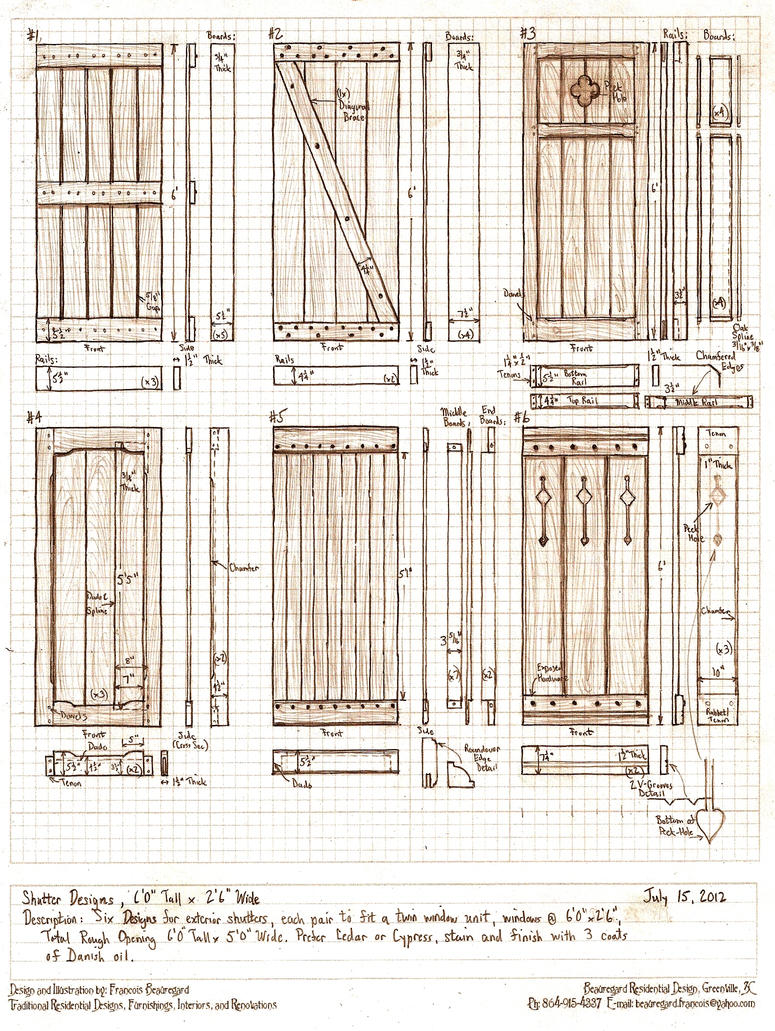 Six exterior shutter designs by built4ever on deviantart How to make exterior shutters