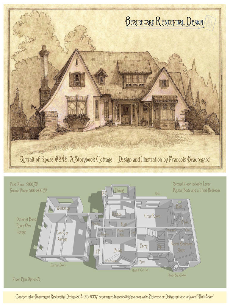 portraitplan of house 345c a storybook cottage by built4ever