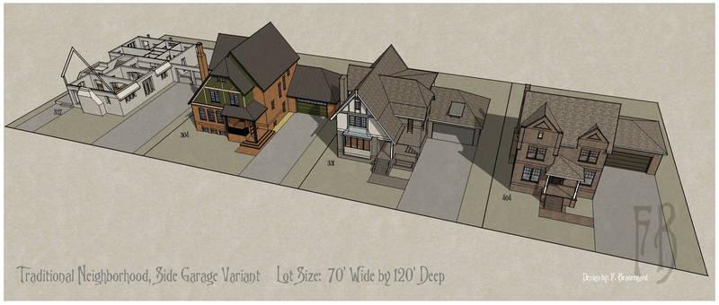 Neighborhood Homes with Side Garages