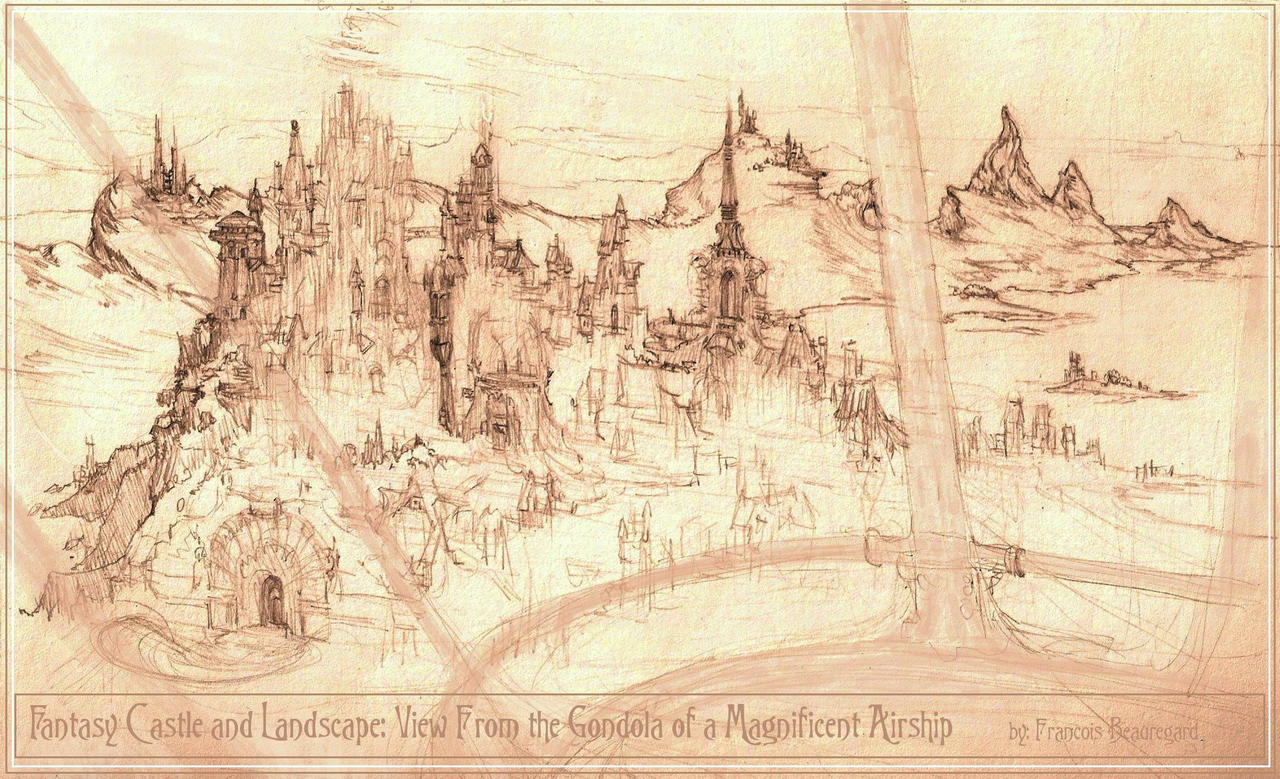View Of Fantasy Castle And Landscape From Airship By