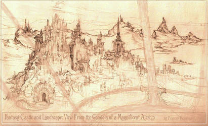 View of Fantasy Castle and Landscape From Airship