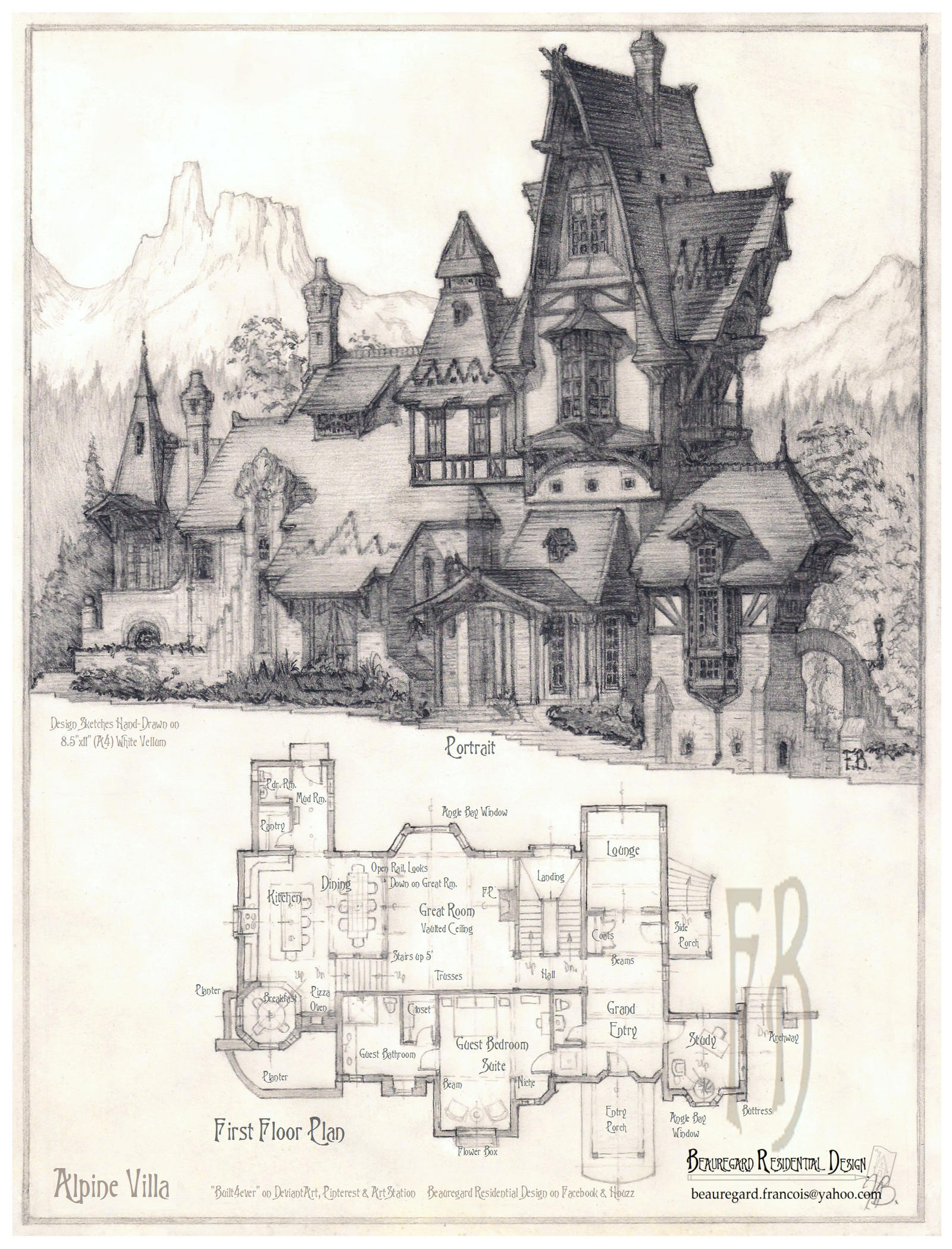 Portrait of house number 500 by built4ever on deviantart for House sketches from photos