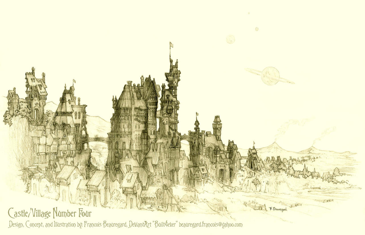 Castle village 4 enchanta first sketch by built4ever on for Castle architecture design