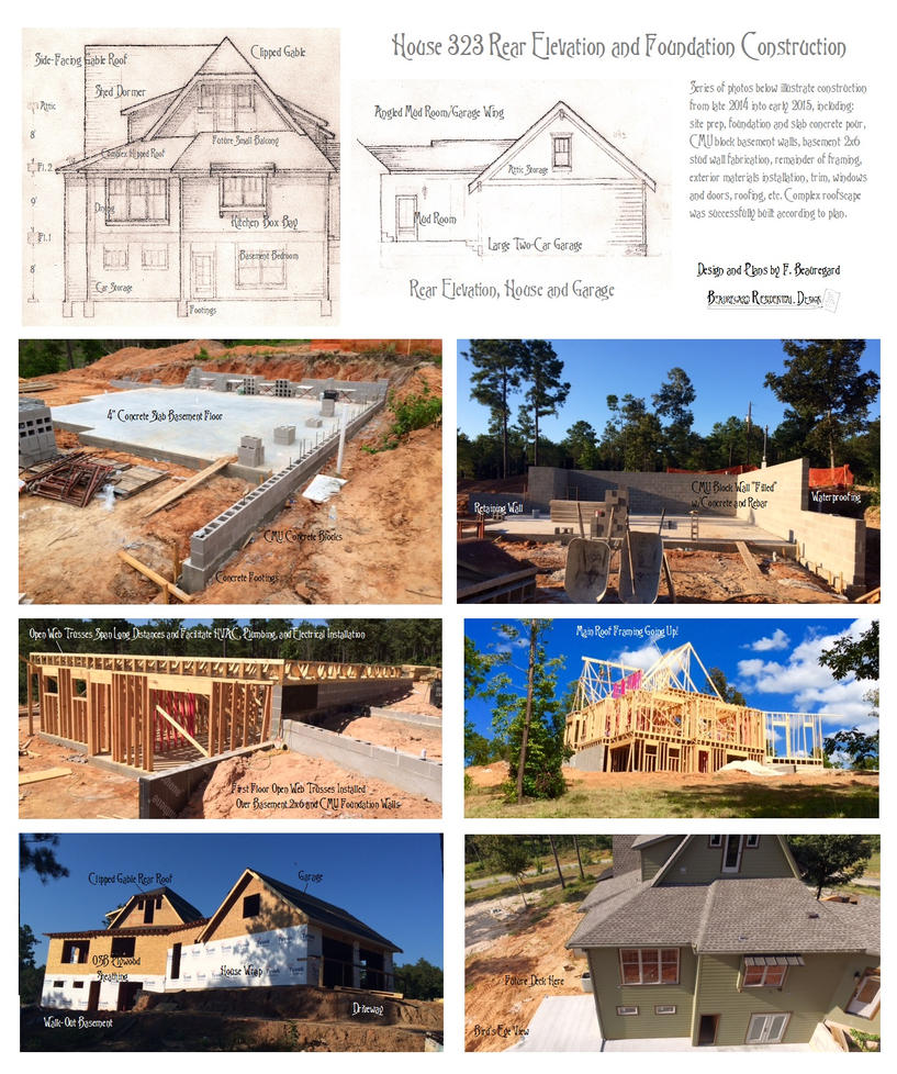 House 323 Rear Elevation and Foundation by Built4ever