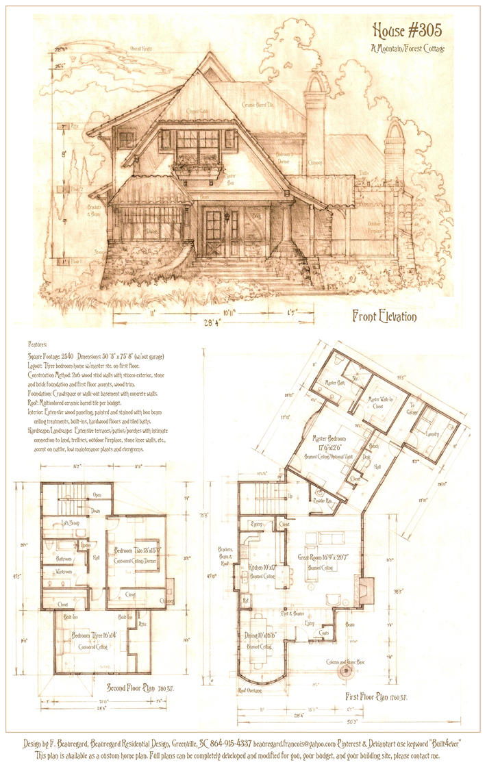 House 305 a mountain cottage by built4ever on deviantart for Mountain cottage house plans