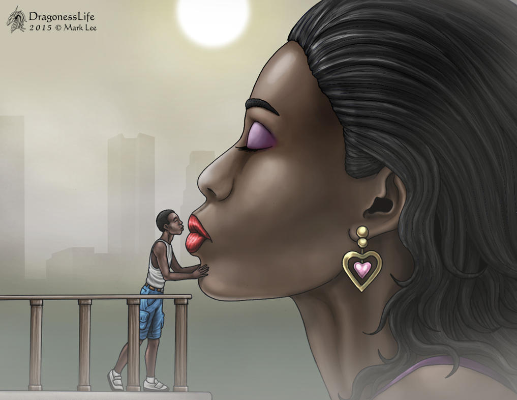 The ebony giantess kiss him. by DragonessLife