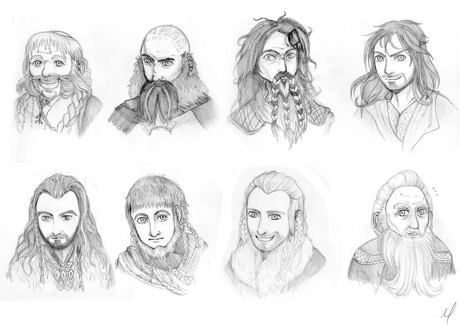 the hobbit: 8 dwarves + by c-palmer on deviantart - Hobbit Dwarves Coloring Pages