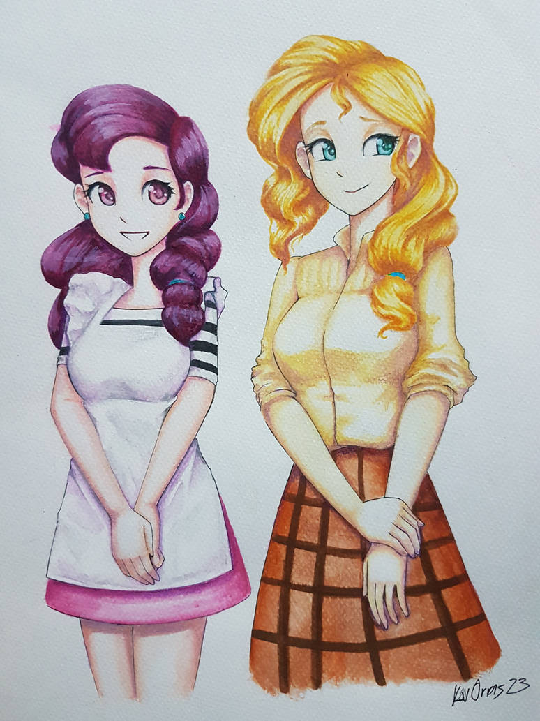 Coloring excersie: Sugar Belle and Pear Butter by KvOrias23
