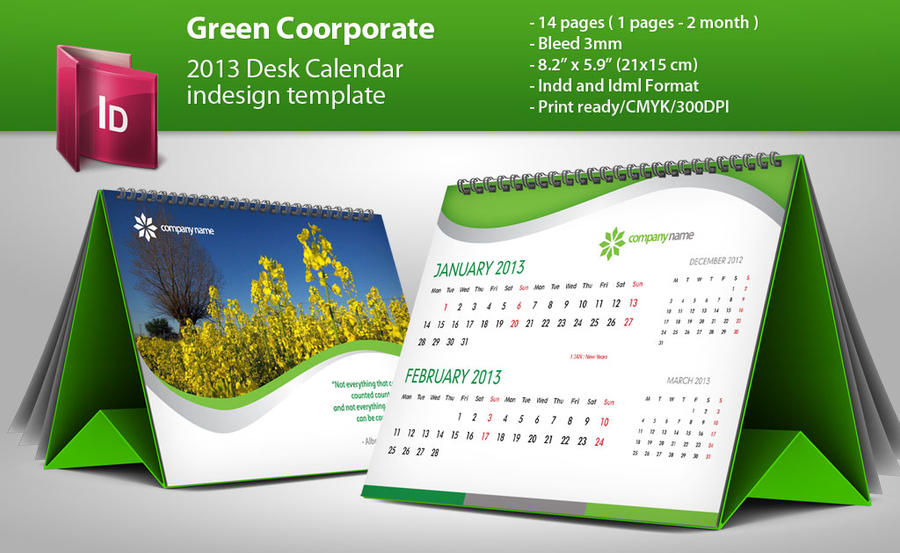 Table Calendar Design : Desk calendar indesign template by g crew on deviantart