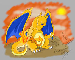 Charizard and Baby Charmander by MidnightCharizard