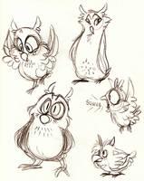 Owlies by cozmictwinkie