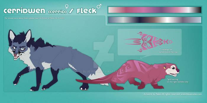 Cerrid and Fleck (fursona) - Reference Sheet