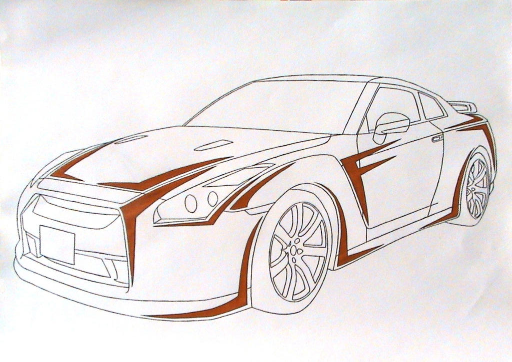How To Draw Nissan GTR 35