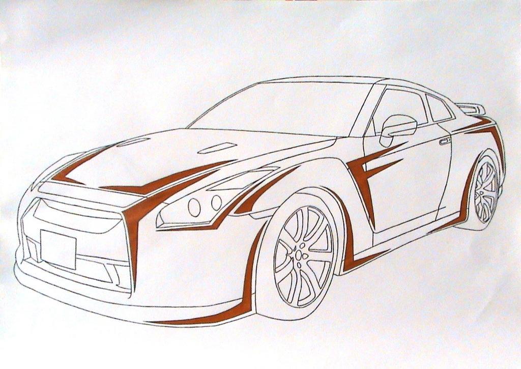 Line Drawing Nissan Gtr : Drawn nissan gtr