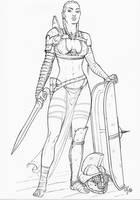 Gladiatrix - Murmillo (pencil) by Area283