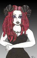 Red Head with Horns by corpsegirl001