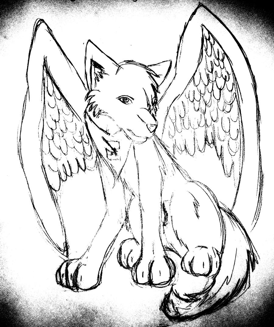 Coloring pages of wolves - Wings Sketch By Reese The Wolf On Deviantart
