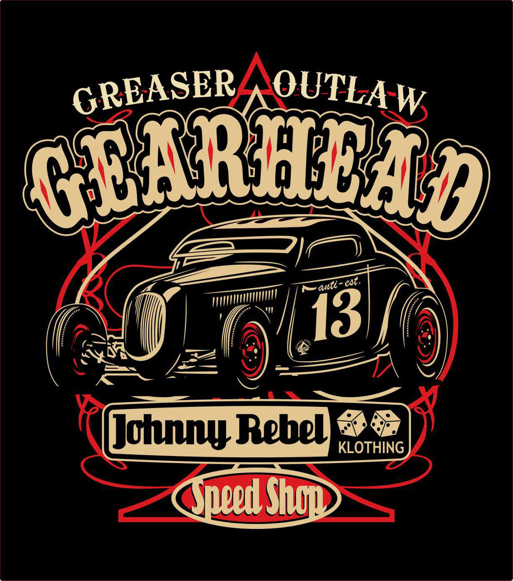 johnny rebel t shirt design gearhead by russellink on