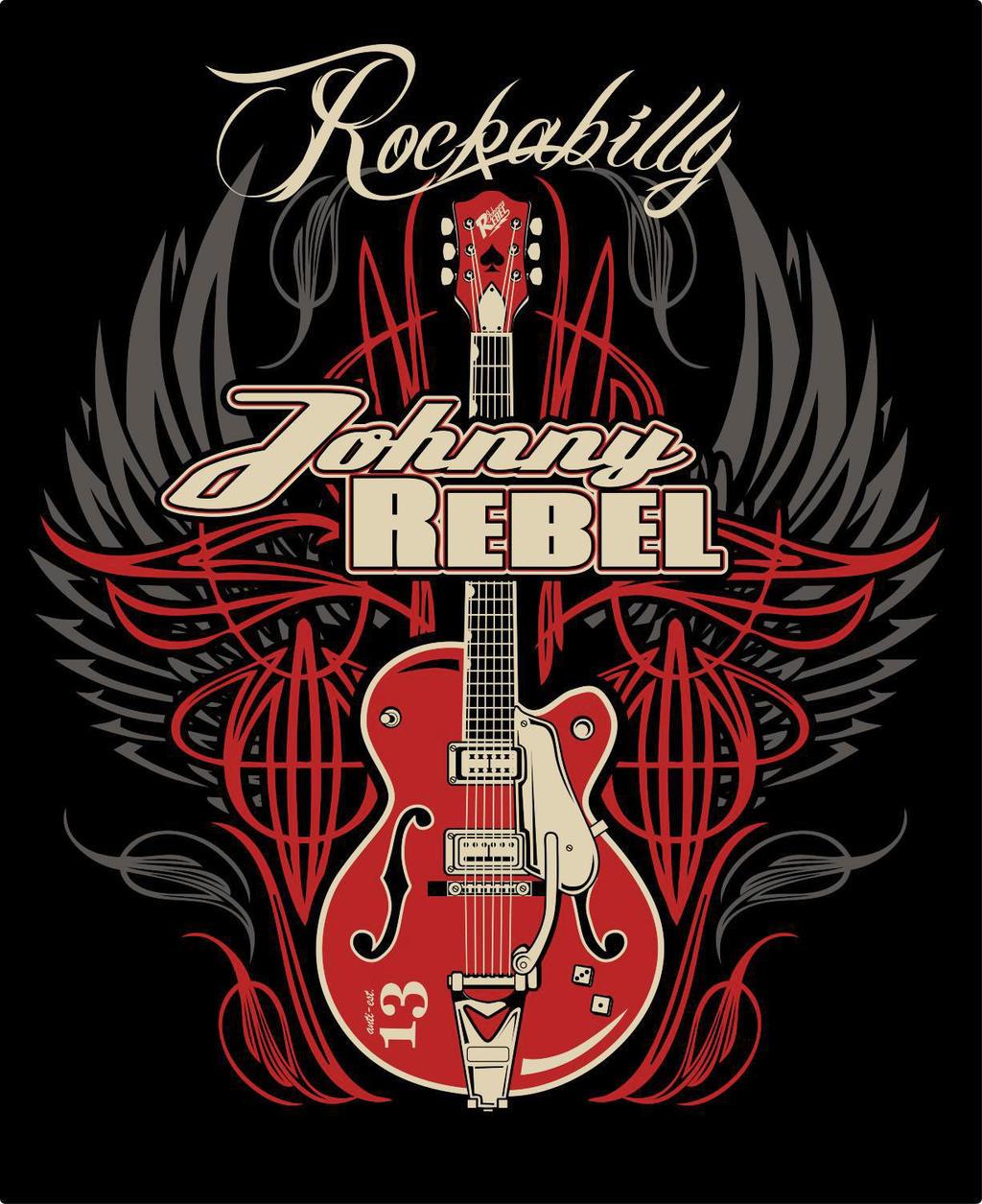 johnny rebel t shirt design wing guitar by russellink on. Black Bedroom Furniture Sets. Home Design Ideas