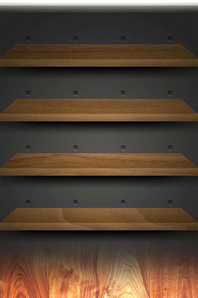 IPhone Retina Walnut Shelves Wallpaper By Darnton