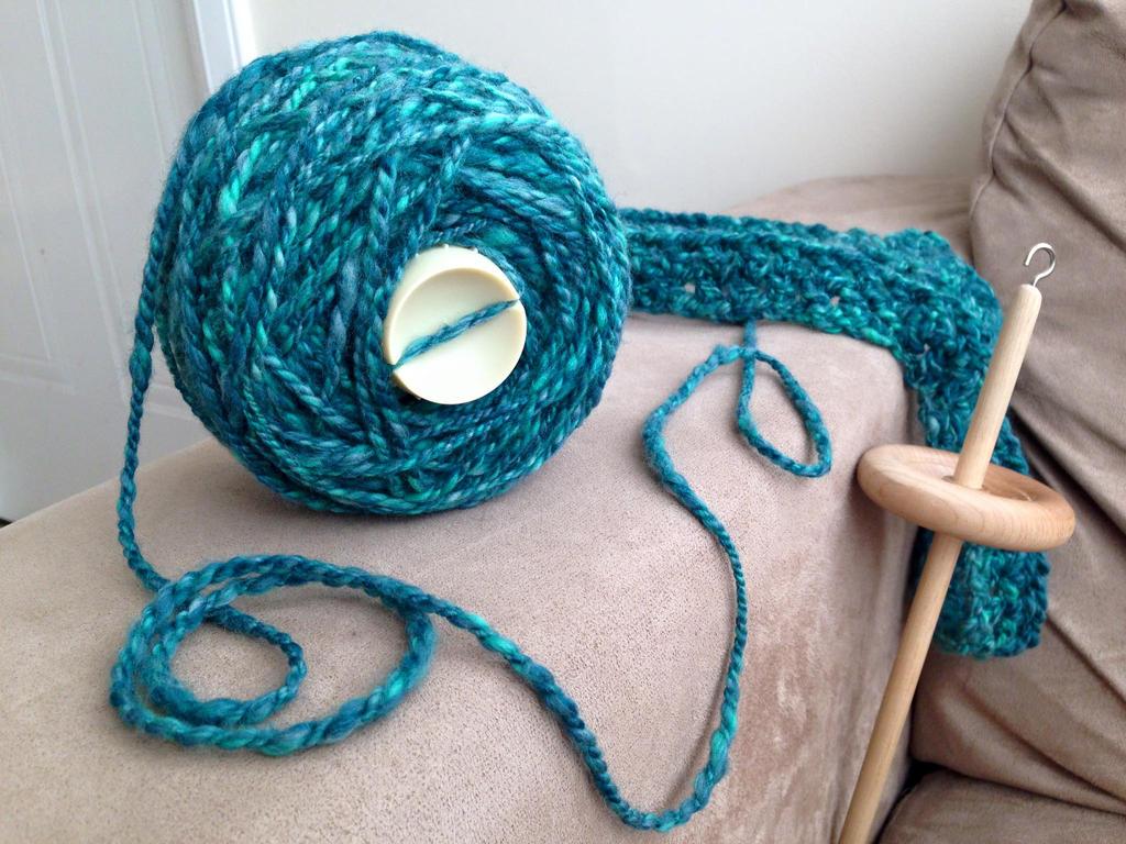 2-ply Merino yarn handspun using a Drop Spindle by TombRaiderKuchen