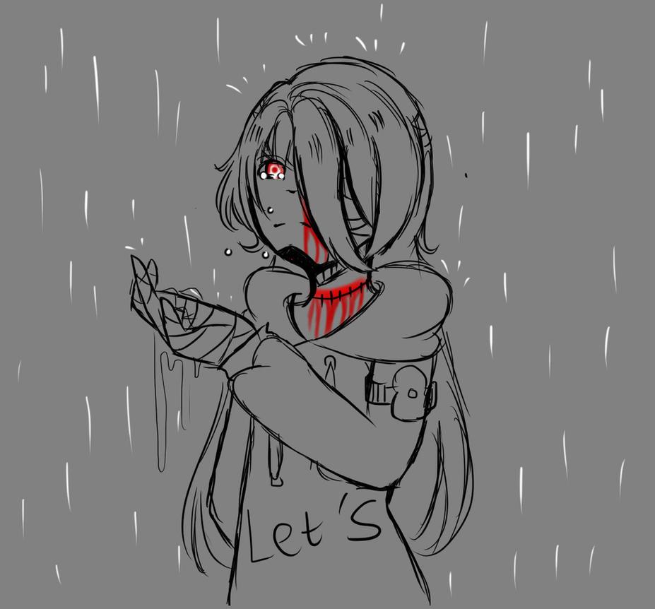 [Sketch] Walk in rain by LamKarla