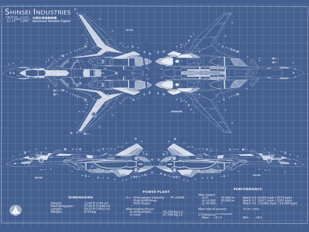 yf-19 blueprint by kone
