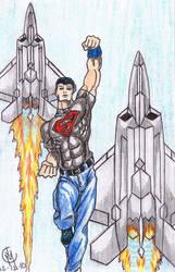 Superboy flying by tat2tiger