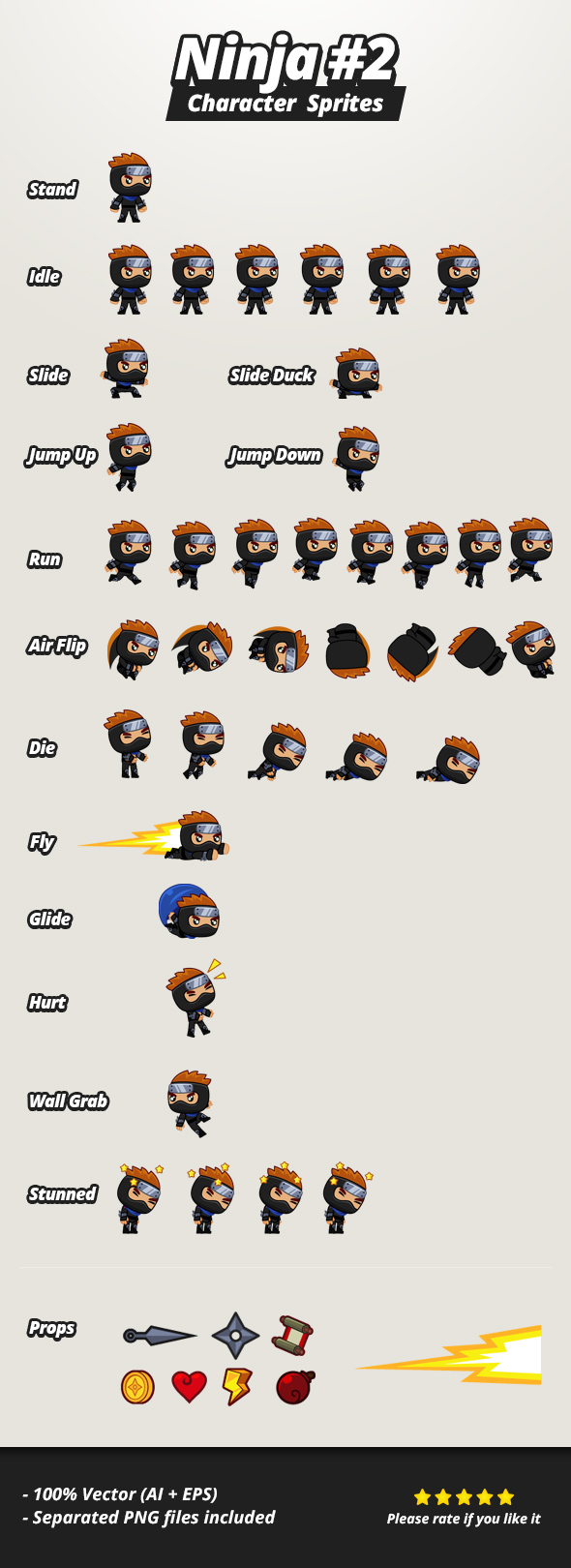 Character Sprites - Ninja 2 by hamdirizal