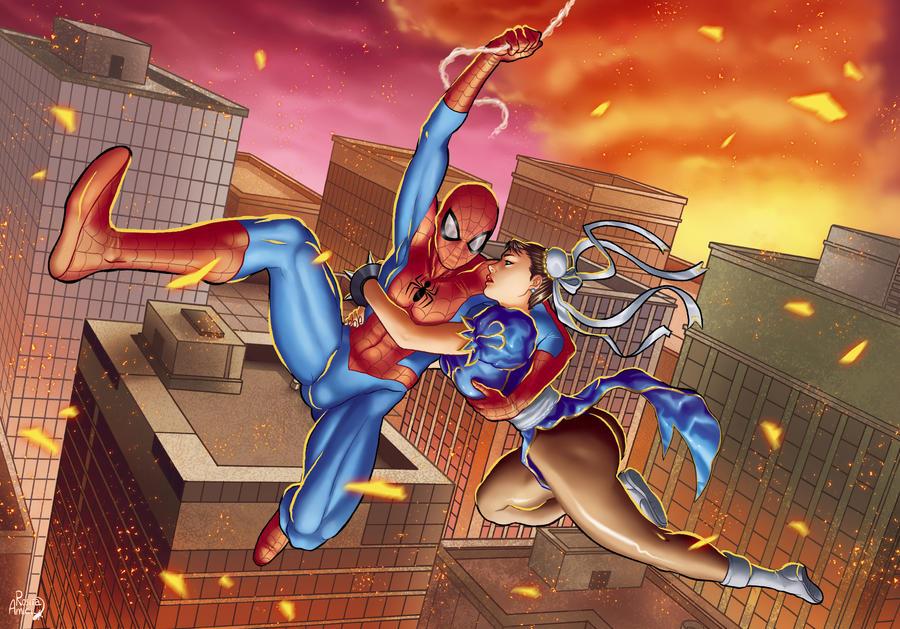 MVSC Chun-li and Spiderman by GeckUP